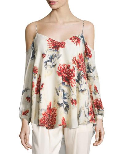 Long-Sleeve Floral Cold-Shoulder Blouse, Lincoln Print