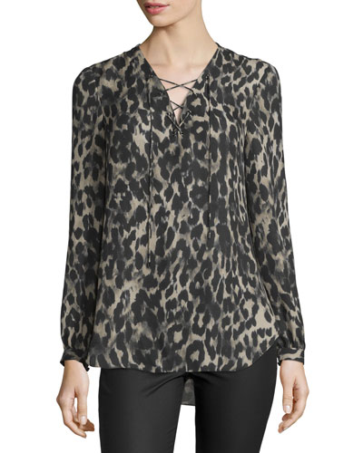 Long-Sleeve Silk Leopard Blouse, Clinton Leopard