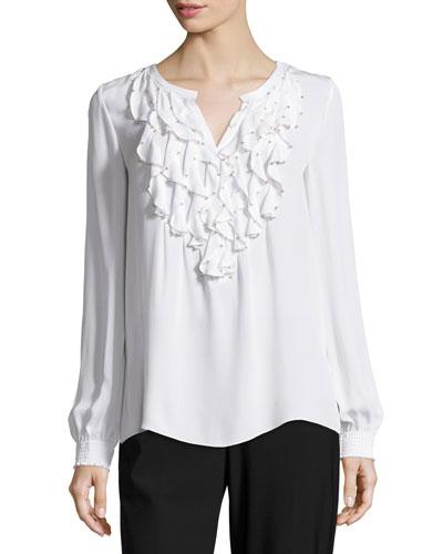Flori Long-Sleeve Ruffled Silk Blouse, White