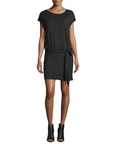 Draped Open-Back Jersey Mini Dress, Black