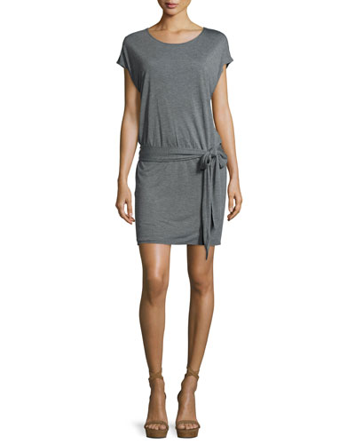 Draped Open-Back Jersey Mini Dress, Gray