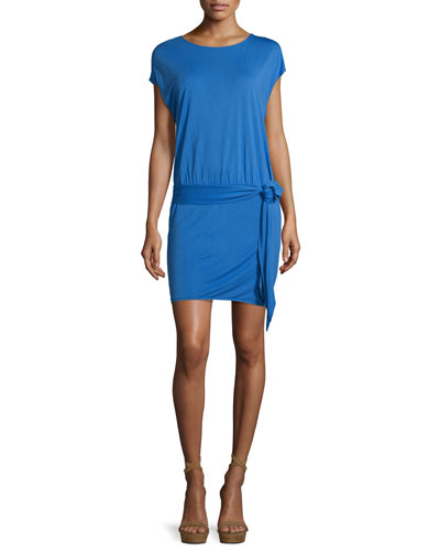 Draped Open-Back Jersey Mini Dress, Blue