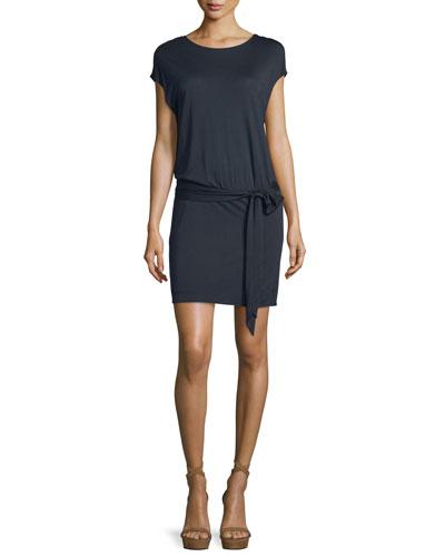 Draped Open-Back Jersey Mini Dress, Navy