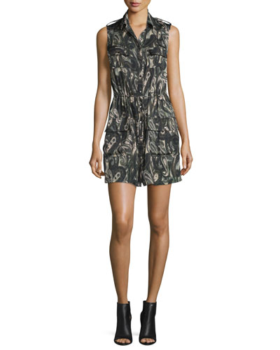 Sleeveless Silk Paisley Cargo Dress, Camo