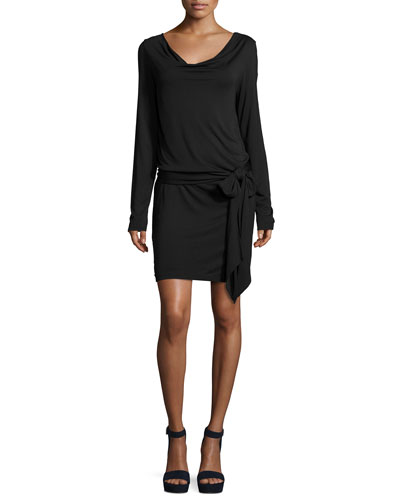 Long-Sleeve Wrap Dress, Black