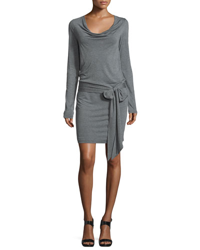 Long-Sleeve Wrap Dress, Charcoal