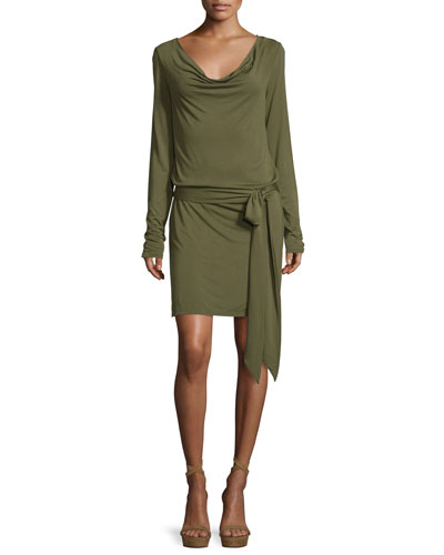 Cowl-Neck Open-Back Jersey Mini Dress, Olive