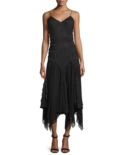 Marty's Girlfriend Silk Handkerchief Dress, Black