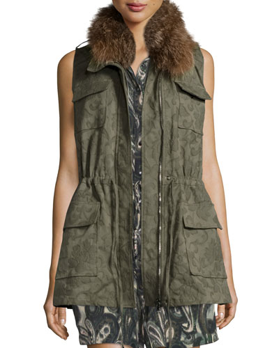 Floral Jacquard Cargo Vest, Military