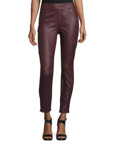 Nappa Leather-Like Ponte Skinny Jeans, Merlot