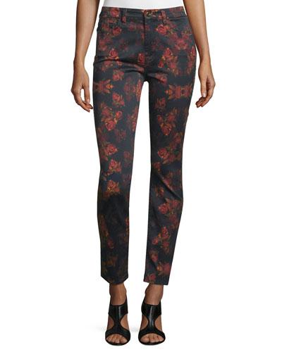 Rose-Print Skinny Jeans, Rouge/Black