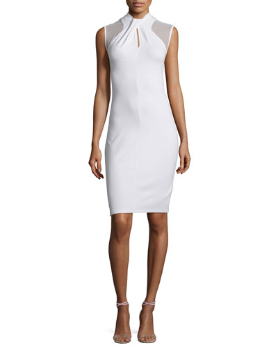 Tania Sleeveless Sheath Dress, White