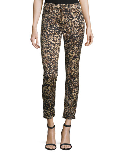 Leopard-Print Skinny Ankle Jeans