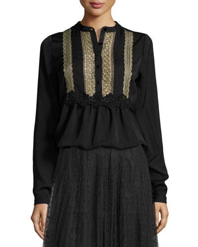 Crochet-Lace Bib Long-Sleeve Blouse