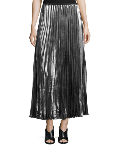 Metallic Accordion-Pleated Maxi Skirt