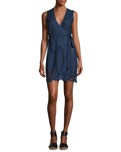 Alina Chambray Lace Wrap Dress