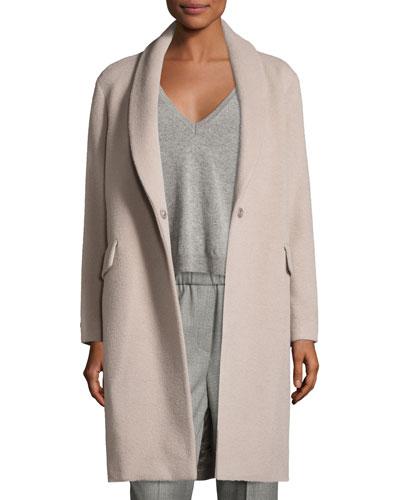 Shawl-Collar Wool-Blend Cocoon Coat, Beige