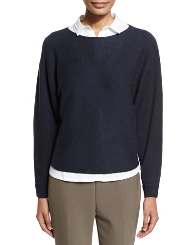 Wool-Blend Crewneck Cutaway-Back Sweater, Navy