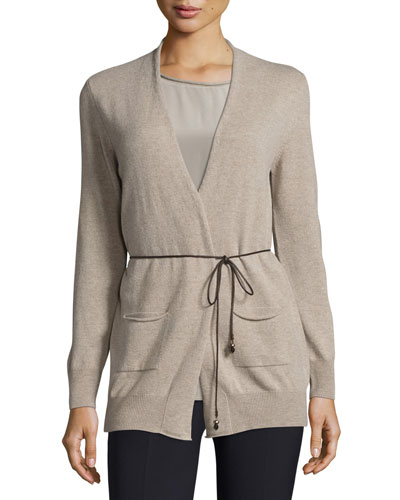 Long Open Cardigan w/ Hip Patch Pockets, Beige