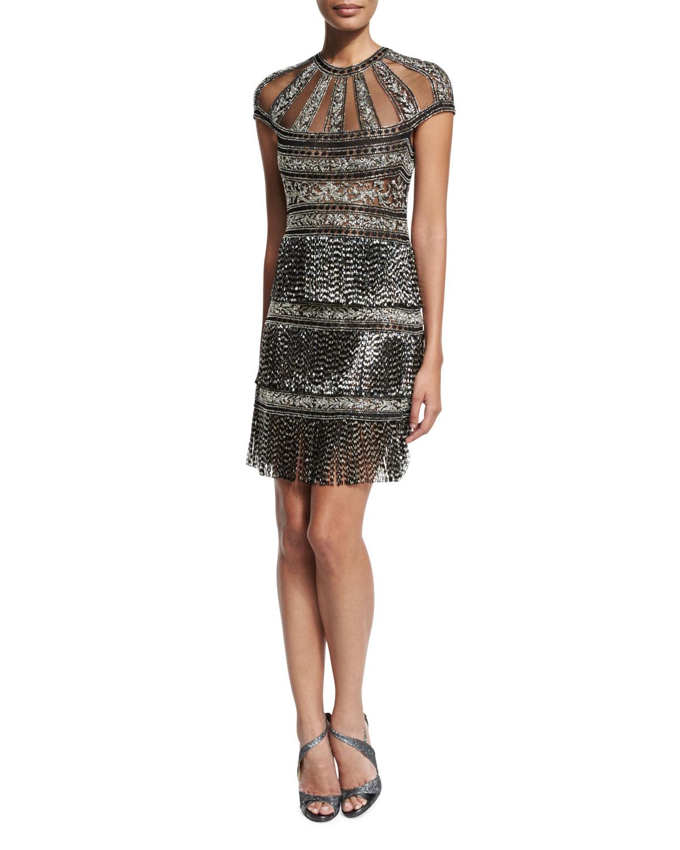 Cap-Sleeve Deco Fringe-Skirt Mini Dress, Silver/Black