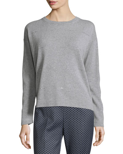 Beaded Wool-Blend Crewneck Sweater, Light Gray