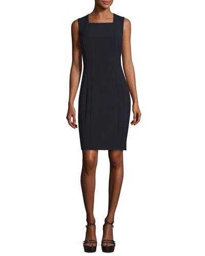 Sleeveless Double-Knit Square-Neck Sheath Dress, Navy