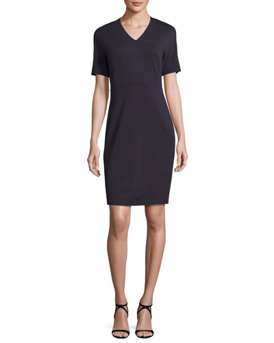 Short-Sleeve V-Neck Ponte Sheath Dress, Navy