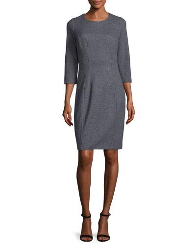 3/4-Sleeve Jewel-Neck Sheath Dress, Navy/Gray