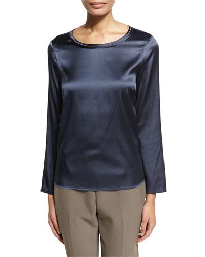 Beaded Jewel-Neck Silk-Blend Top, Navy