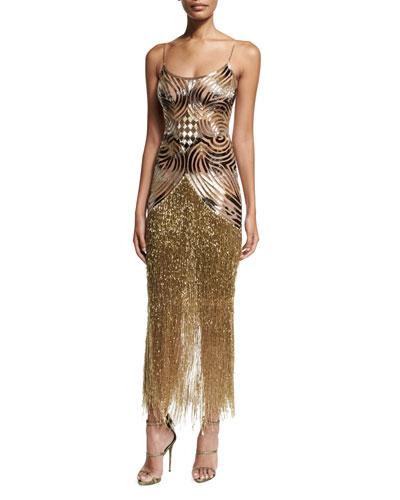 Deco Fringe Slip Dress, Gold/Black