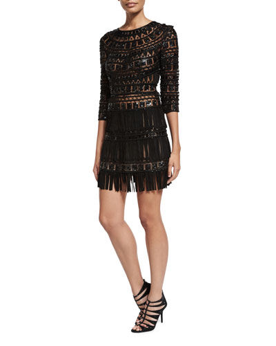 Suede Fringe-Skirt Cocktail Dress, Black