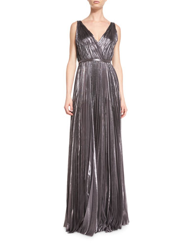 Pleated Deep V-Neck Silk Gown, Anthracite