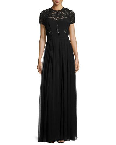 Short-Sleeve Lace Gown, Noir