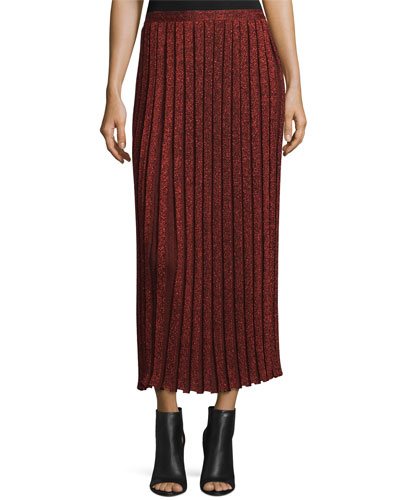 Pleated Metallic Midi Skirt, Red