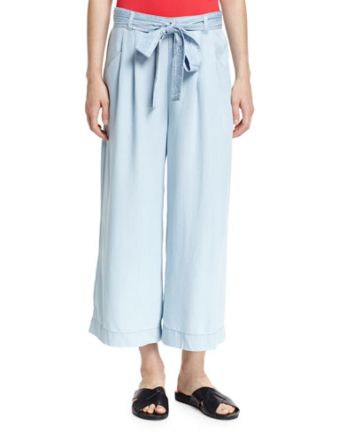 Chambray Cropped Wide-Leg Coverup Pants