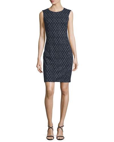 Sleeveless Chevron-Print Cotton Sheath Dress, Navy/Gray