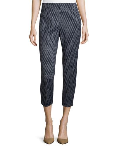 Diamond Jacquard Cropped Pants, Navy/Gray