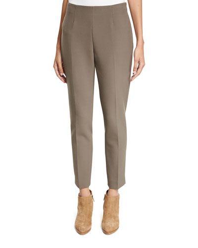 Side-Zip Double-Knit Cropped Pants, Dark Taupe