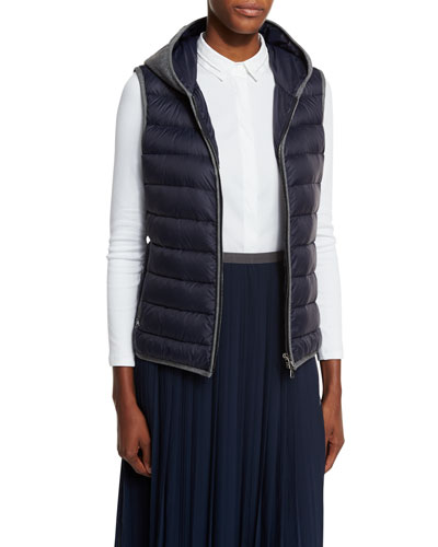 Contrast-Trimmed Hooded Puffer Vest, Navy