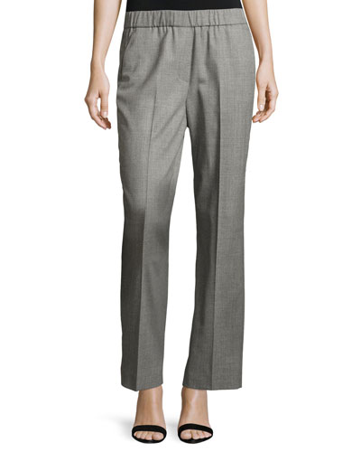 Stretch-Wool Pull-On Pants, Gray