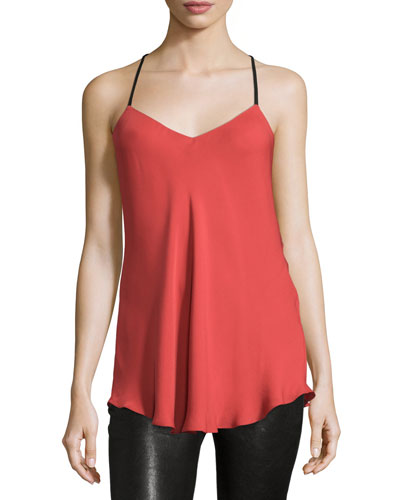 Leather-Strap Silk Camisole, Red Rose