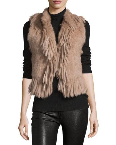 Knit Rabbit-Fur Vest