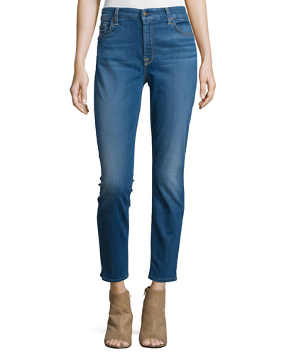 Riche Touch Skinny Ankle Jeans, Light Blue