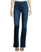 Riche Touch Classic Slim Boot-Cut Jeans, Medium Blue
