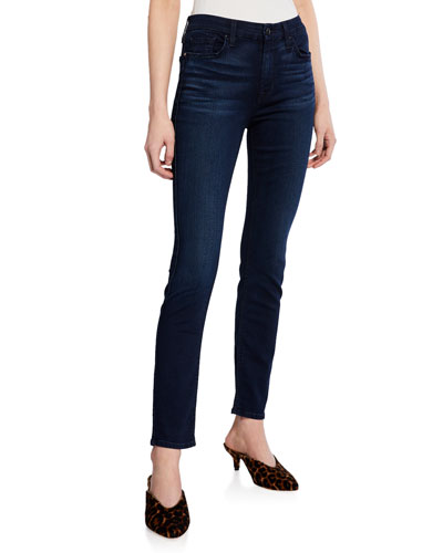 JEN7 Riche Touch Skinny Ankle Jeans, Dark Blue in Riche Touch Blue/ Black