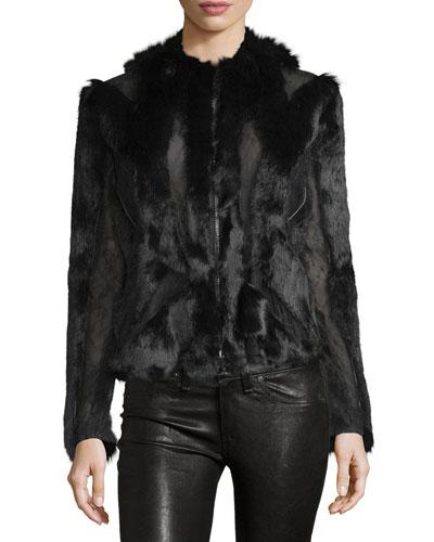 Rabbit-Fur and Silk Jacket, Black