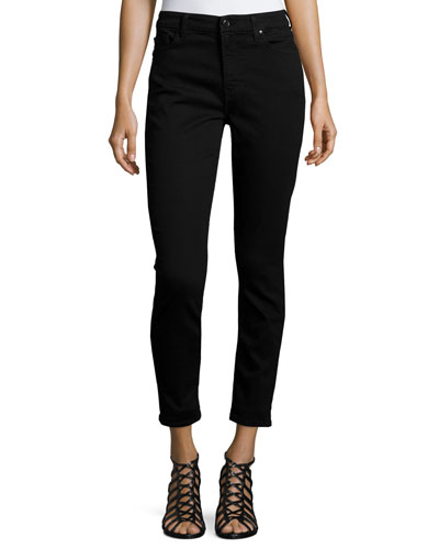 Riche Touch Skinny Ankle Jeans, Black Noir
