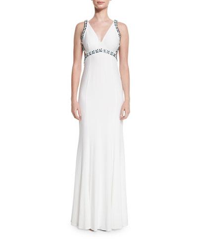 V-Neck Open-Back Embellished Gown, White/Blue