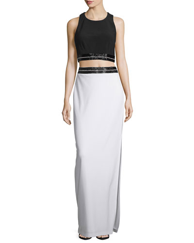 Two-Piece Embellished Set, Black/White
