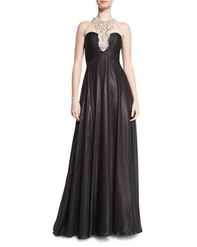 Glitter Chiffon Gown With Embellished Neckline, Black